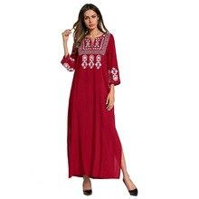 185727 Middle East Muslim Robes European Dress Square Neck Embroidered Ethnic Arab Arabic Abaya Ramadan Fashion
