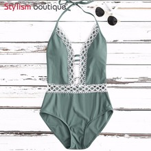 7dafb427eb 2018 Lace Patchwork Swimwear Women One Piece Swimsuit Plunge Bathing Suit  Monokini Deep V Neck Swimming
