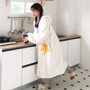 Image 5 - 가을 겨울 여성 긴 소매 잠옷 후드 플란넬 잠옷 여자 나이트 드레스 잠옷 귀여운 공주 산호 양털 wz619