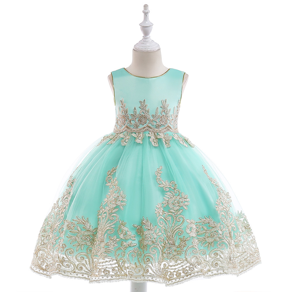 Red Bridesmaid Flower Girls Dress for Kids Vestido Embroidered Wedding Party Dresses Ball Gowns Formal Occassion Princess Dress new flower girls party dress embroidered formal bridesmaid wedding girl christmas princess ball gown kids vestido