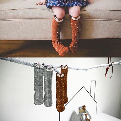 Cute Kids Boys Girls Cotton Baby Socks Fox Pattern Knee Socks For Age 2-3 Years