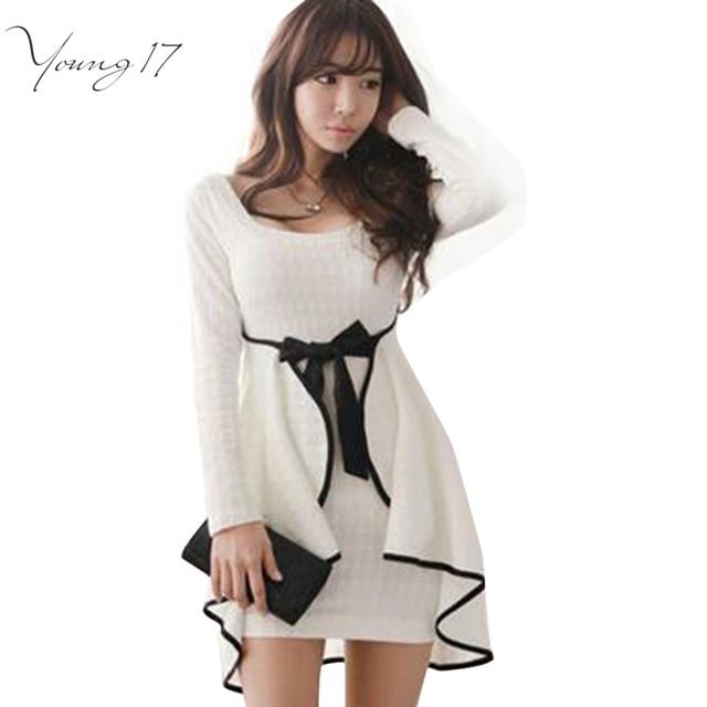 Young17 Sexy Ruffles Bodycon Dress South Korean Style White Women Dress Full Sleeve Autumn Spring Mini Dress Vestidos with Bow