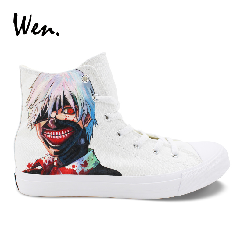 Wen Anime Canvas Hand Painted Shoes Design Custom Tokyo Ghouls White High Top Laced Sneakers Men Women Casual Vulcanize Shoes