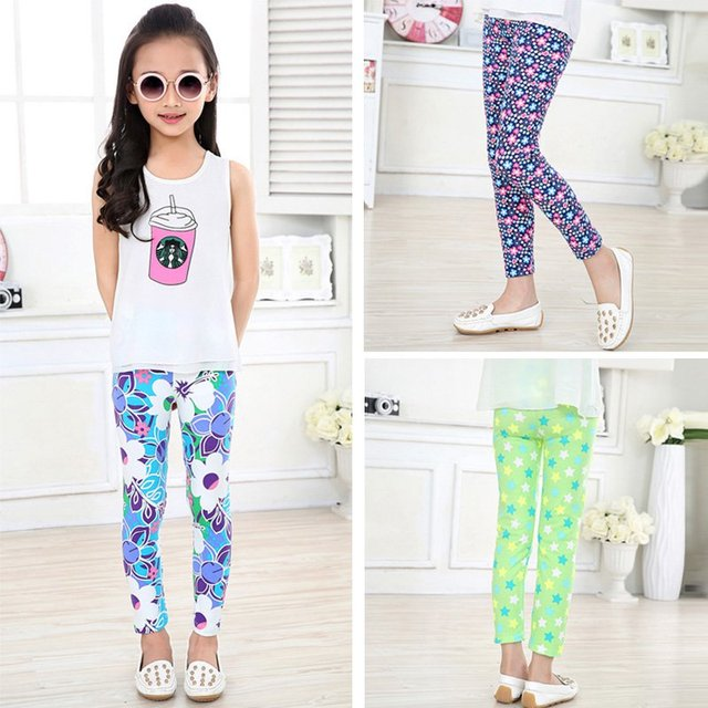 Baby Kids Girls Casual Leggings Pants Flower Floral Printed Elastic Long Trousers 2-14Y