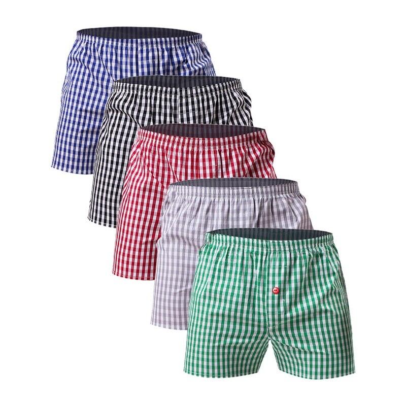 5pcs Plaid Men's Boxers Cotton Mens Underwear Trunks Woven Homme Arrow Panties Boxer With Elastic Waistband Shorts Loose Men
