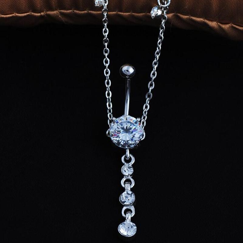 HTB1DkuyRpXXXXXnXVXXq6xXFXXXS 2-In-1 Rhinestone Studded Belly Chain Dangle Navel Ring - 2 Styles
