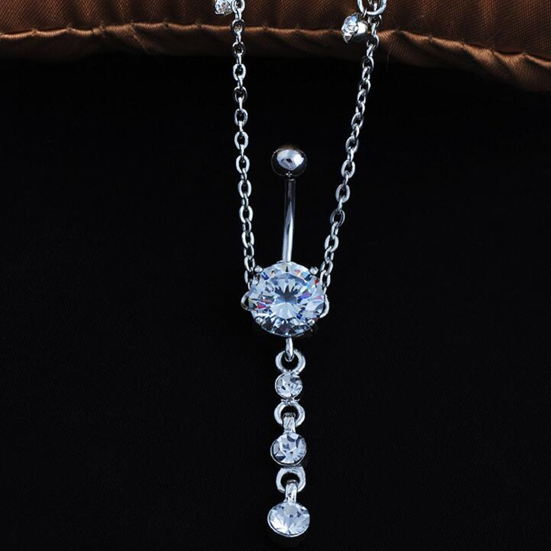 HTB1DkuyRpXXXXXnXVXXq6xXFXXXS 2-In-1 Rhinestone Studded Belly Chain Dangle Navel Ring - 2 Styles