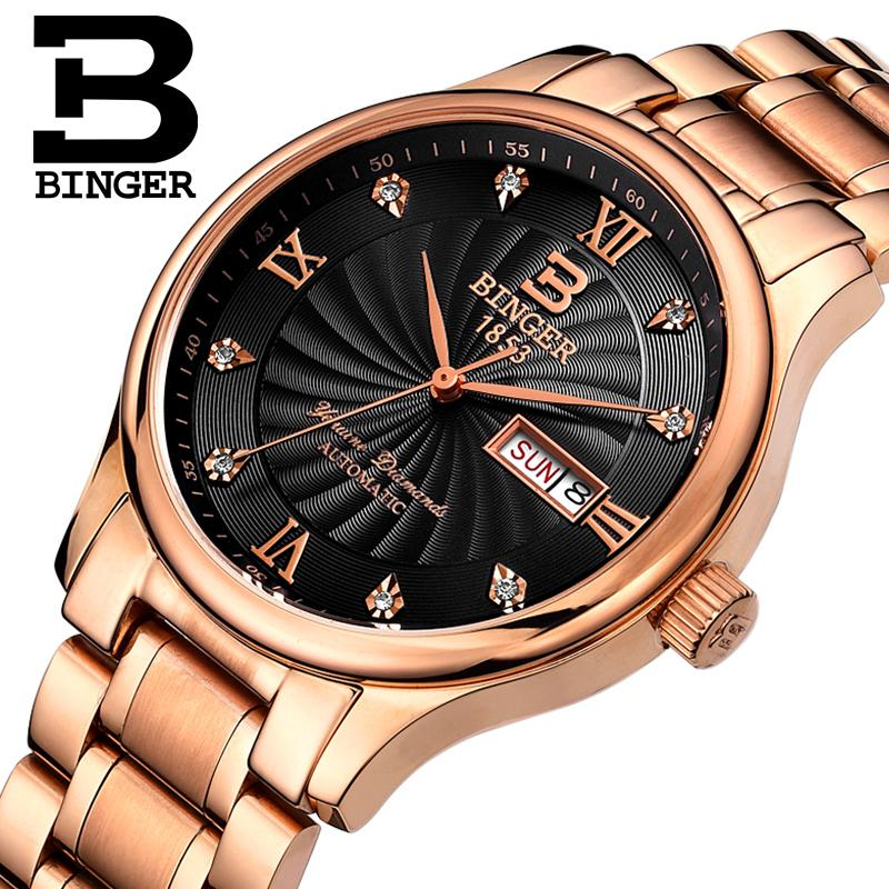 Switzerland men Wristwatches luxury brand watches BINGER luminous Quartz Wristwatches full stainless steel Waterproof B603B 7