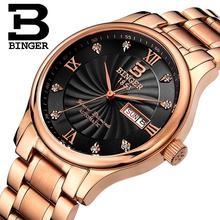 Швейцария мужские Наручные Часы luxury brand часы БИНГЕР световой Кварцевые Наручные Часы полный нержавеющей стали Водонепроницаемый B603B-7