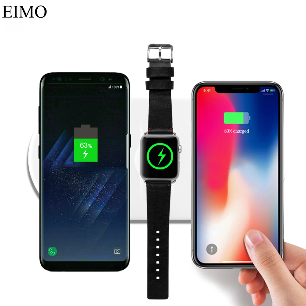 charger For Apple Watch 4/3/2 1 44mm 40mm Iphone X 8 8 plus Samsung Galaxy S9 S8 wireless charging Iwatch 42mm/38mm/40mm/44mm crested charger for apple watch band iwatch series 4 3 2 1 qi wireless iphone x 8 plus samsung 10w fast charging dock station