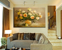 famous oil painting of flowers yellow rose oil pictures for living room Decor handmade wall picture for wedding decoration