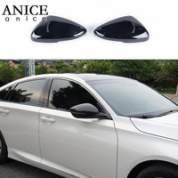 2pcs Carbon fiber color or Starry black chrome ABS Look Rearview Side Mirror Cover Trim Fit For Honda Accord 2018