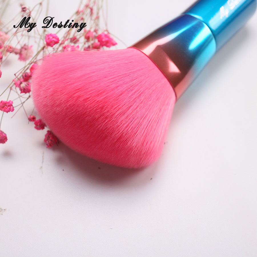 MY DESTINY Rainbow Blue Angled Powder Brush Make Up Makeup Brushes Pincel Maquiagem Brochas Maquillaje Pinceaux Maquillage my destiny large ombre color powder brush professional make up makeup brushes pincel pinceis maquiagem maquillaje pinceaux p01