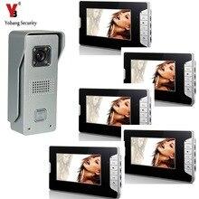 YobangSecurity 7″Inch Color LCD Video Door Phone Visual Intercom Doorbell 1-camera 5-monitor Hands Free IR Camera Night Vision
