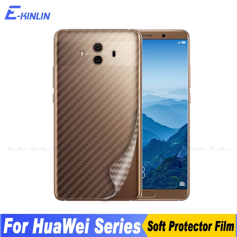 Galleria fotografica 2pcs 3D Carbon Fiber Back Cover Screen Protector For Huawei Mate RS 9 10 Lite X Pro Sticker Protective Film (Not Tempered Glass)