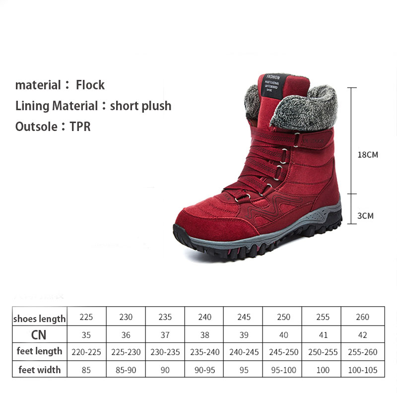 Jackshibo Women Winter snow Boots Short Plush Warm Boots Shoes For Women Female Outdoor Anti slip Waterproof Snow Shoes Boots in Mid Calf Boots from Shoes