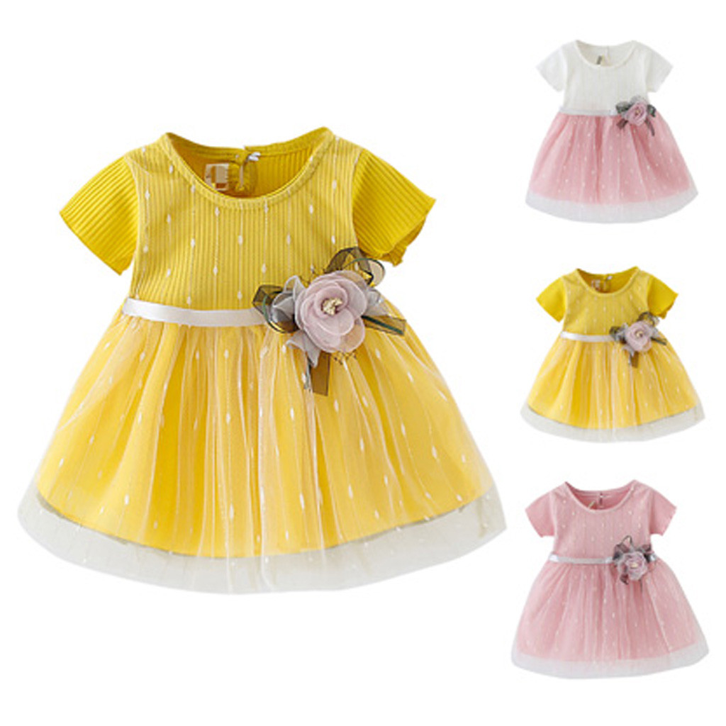 Clothing Dress Infant Baby-Girl Summer Flower Tulle Princess Kid Short Wholesale New-Fashion title=