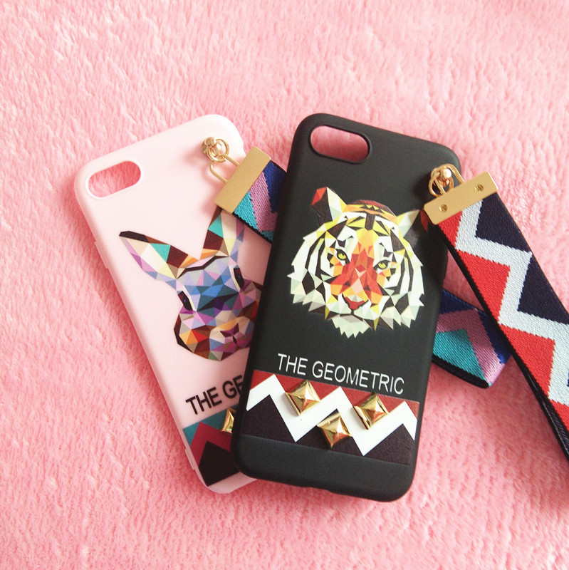 3D Tiger Rabbit Couple Case For iPhone X 10 8 7 6 s 6s plus 7p 8p 6p Case Pink RedCover Fashion Cute Fundas with wristband