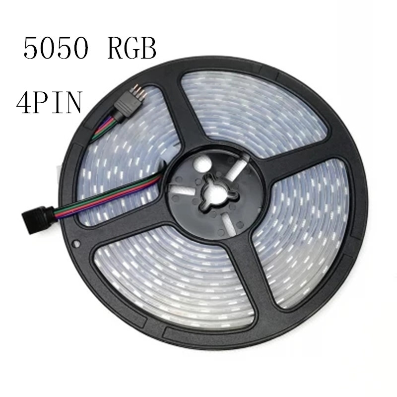 HTB1DkvnBf9TBuNjy1zbq6xpepXaN - 1 Roll 5M Waterproof 12V LED Strip Light 5050 RGB Pink Ice Blue Red Green Diode Tape LED Lamp Home Holiday Decoration 5M/lot