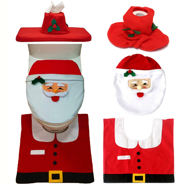 Christmas Interior 3pc/set Christmas Decoration Xmas Happy Santa Toilet Seat Cover and Rug Bathroom New Year home decorations