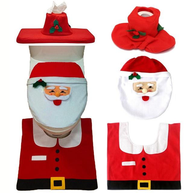 Christmas Interior 3pcs/set Christmas Decoration Xmas Happy Santa Toilet Seat Cover and Rug Bathroom New Year home decorations