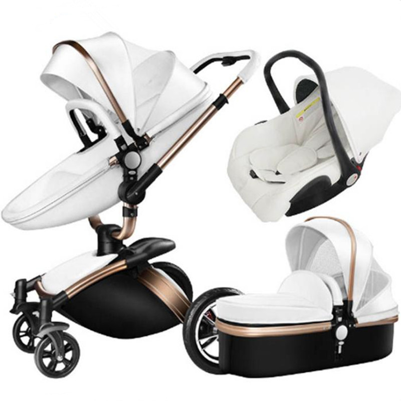 Baby stroller 3 in 1 eco-leather authentic strollers widen the sleeping basket simple baby car seat Russia free shipping все цены
