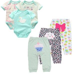 Image 2 - 6ชิ้น/ล็อตแขนสั้นRomper + กางเกงการ์ตูนเสื้อผ้าเด็กชุด2020สาวฤดูร้อนเด็กชุดเด็กทารกชุดเด็กเสื้อผ้า