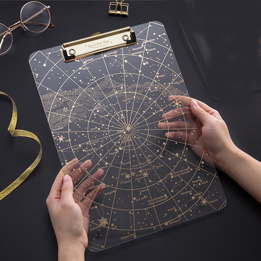 Big Starry Sky Clipboard Transparent A4 Paper Writing Pad File Folders Document Holders School Office Stationery Clip Board