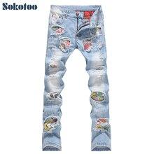 Sokotoo degli uomini di modo della rappezzatura del foro jeans strappati Casual slim fit denim dei pantaloni mendicante pantaloni Lunghi