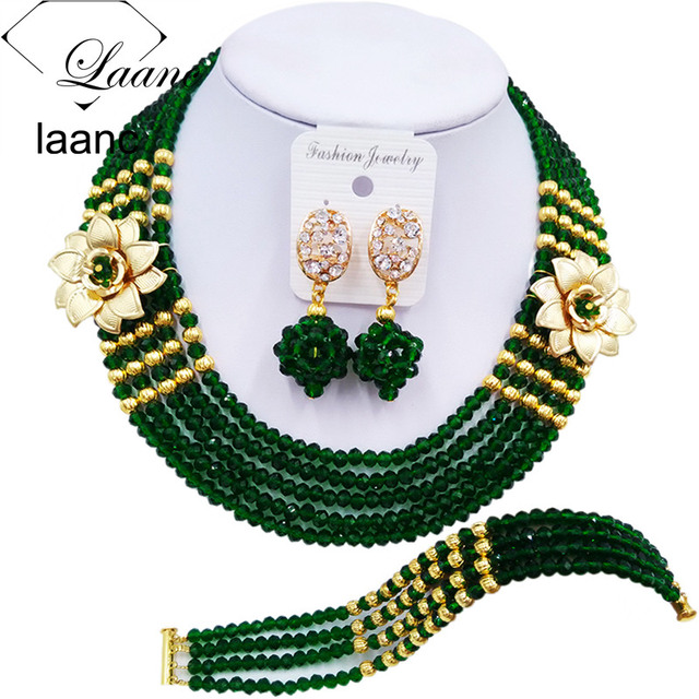 Laanc Fashion Women Dark Green African Costume Jewelry Set Nigerian