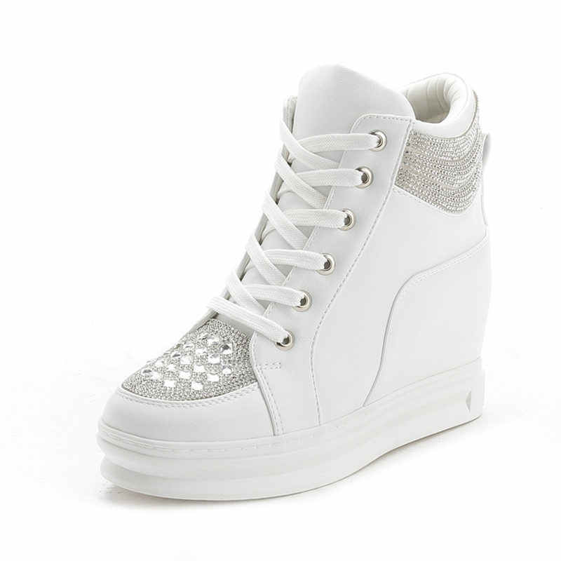 SWYIVY Chaussures Femme Weiße Schuhe Frau High Top Frauen Schuhe Turnschuhe 2019 Mode Keile Schuhe Für Frauen Plattform Damen Schuh
