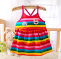 Free shipping Summer Baby Clothing Dress Cotton Colored stripes  0-2 years Baby Girl Dress