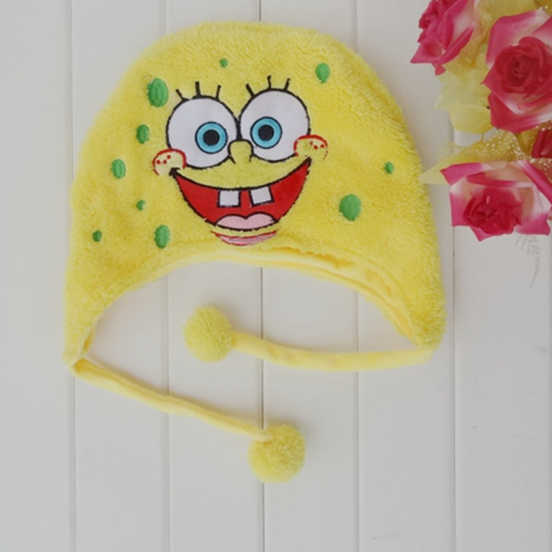 Cartoon Plush Toys Cute Animal Spongebob  Hat Winter Children Cosplay Soft Warm Cap Long Earflap For Boys Girl the new children s cubs hat qiu dong with cartoon animals knitting wool cap and pile