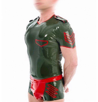 Sexy rubber tight catsuit army green garment bodysuit latex top+panties for men plus size Hot sale Customize service