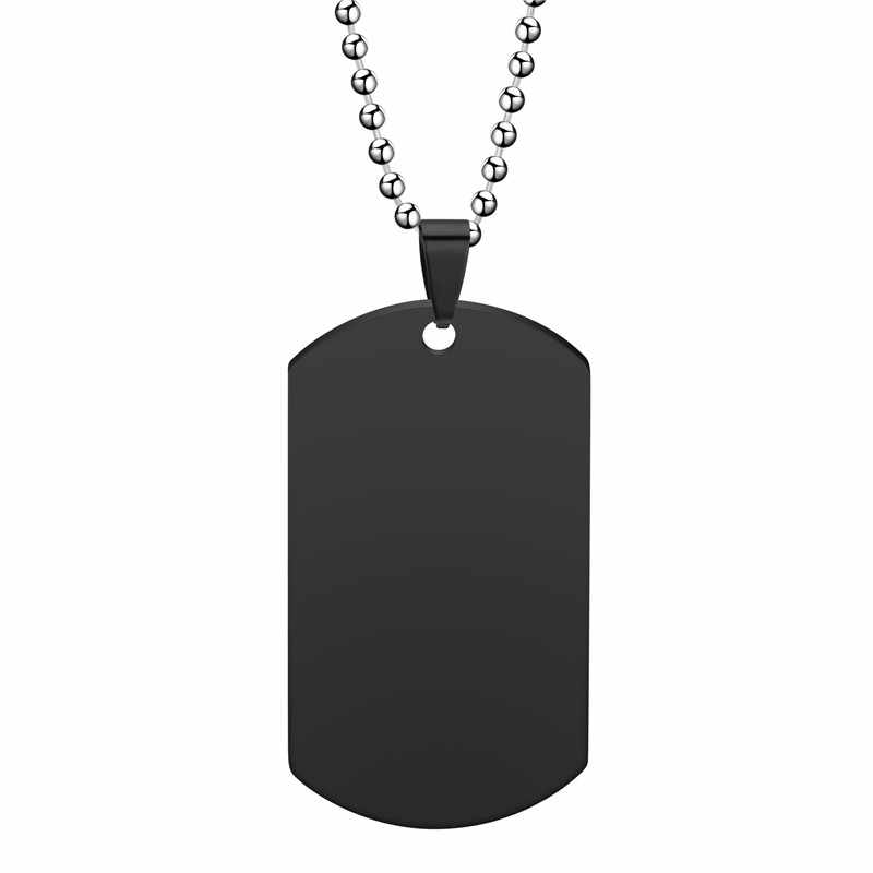 Modyle dog tags 펜던트 스테인레스 스틸 남성 여성 목걸이 골드 실버 블랙 컬러 육군 메모리 보석