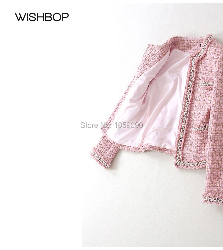 À Perles Luxe Veste Dames Perlé Mode Tweed Multi Designer Col Rose Garniture Élégantes De Manches poches Rond Or 2017ss Longues I7ZFqxzwx