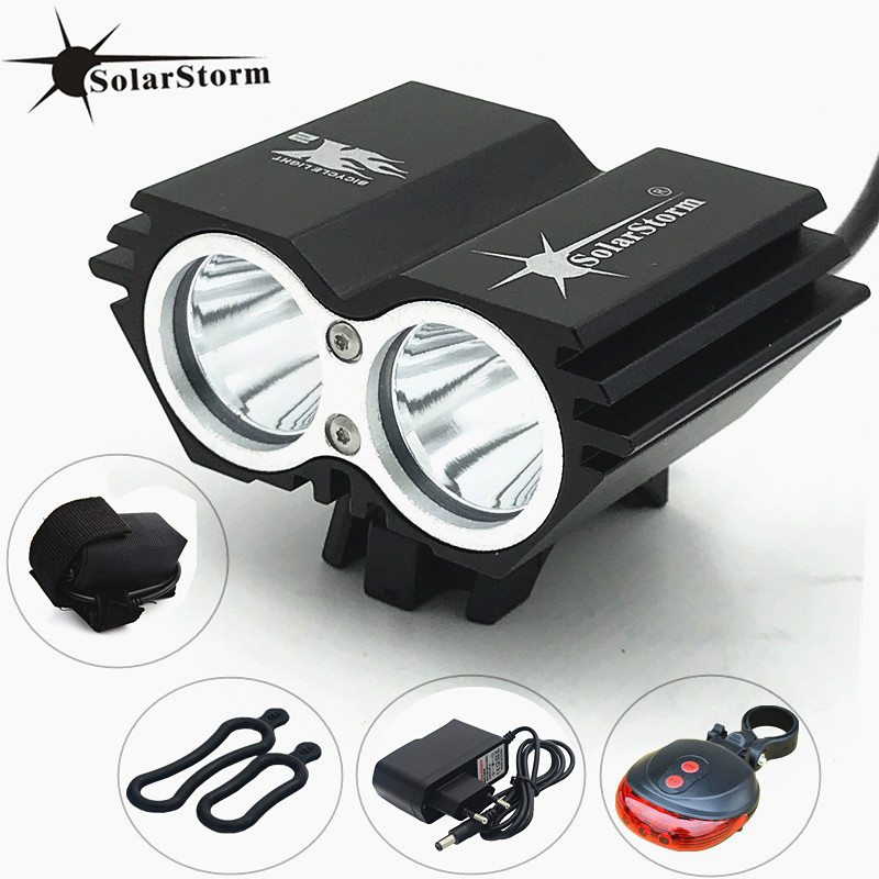 SolarStorm XM-L T6 LED Front Head Bicycle Bike Light Headlamp + Battery + Charger + Bike tail Light Free Shipping 30000lm 14x xml t6 led head front bycicle lights bike light head light headlamp battery pack tail light