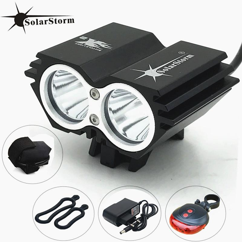 SolarStorm XM-L T6 LED Tête Avant De Bicyclette Lumière De Vélo De Phare + Batterie + Chargeur + Vélo feu arrière Livraison Gratuite