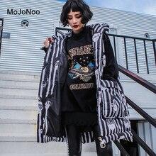 MOJONOO Black White Striped Sleeveless Parka Women Winter Jacket Hooded Thicken Fashion Autumn Coats Parkas Mujer Invierno 2017