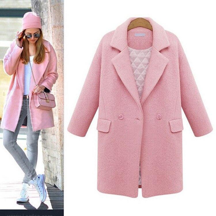 Cielo Cazadora Niñas Plus Cachemira Outwear 2018 Chaqueta Negro Algodón Moda Invierno Mujer Suelta azul Lana Gruesa Otoño rosado Coat Blend x7wZqUFB