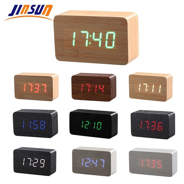 Delightful JINSUN Wood Bamboo LED Alarm Clock Reloj Despertador Modern Temperature Desk  Clock LED Electronic Desktop Digital