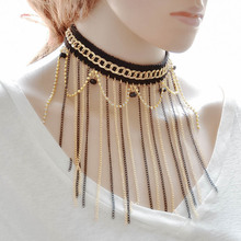 New Retro Chokers Pendants Maxi Statement Tassel Line Chain Necklace Women Wedding Charm Sexy