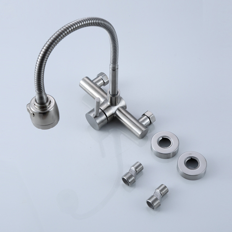 Stainless Steel Wall Mounted Kitchen Faucet Wall Kitchen Mixers Kitchen Sink Tap 360 Degree Swivel Flexible Hose Double Holes 3