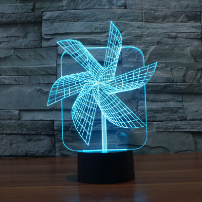 Hot NEW 7color changing 3D Bulbing Light Helmet big Pinwheel 2 illusion LED lamp creative action figure toy Christmas gift image