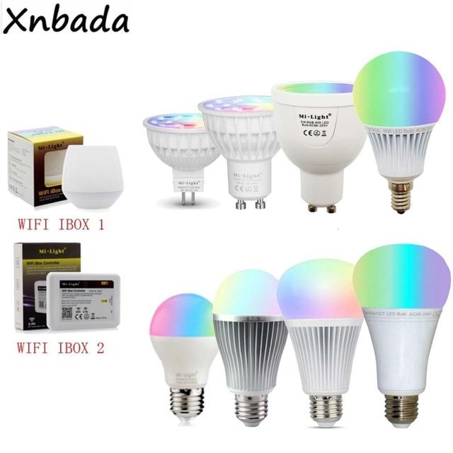 Ми свет с регулируемой яркостью MR16 GU10 E14 E27 4 Вт 5 Вт 6 Вт 9 Вт 12 Вт светодио дный лампы Spotlight, 2,4 г РФ ССТ/RGBW/RGBWW/RGB + CCT светодио дный лампа