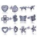 100% Real 925 Sterling Silver Stud Brincos Com CZ Diamante Para As Mulheres Orecchini Compatível com Diy Jóia Da Forma Original
