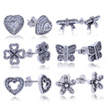 Real 100% 925 Sterling Silver Stud Earrings With CZ Diamond For Women Compatible with Diy Orecchini Original Fashion Jewelry