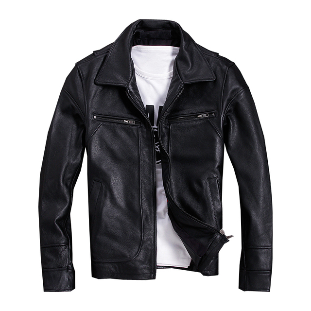755c931c9c5 2018 Black Men American Casual Style Leather Jacket Plus Size XXXXXL Genuine  Cowhide Autumn Russian Leather Coat FREE SHIPPING