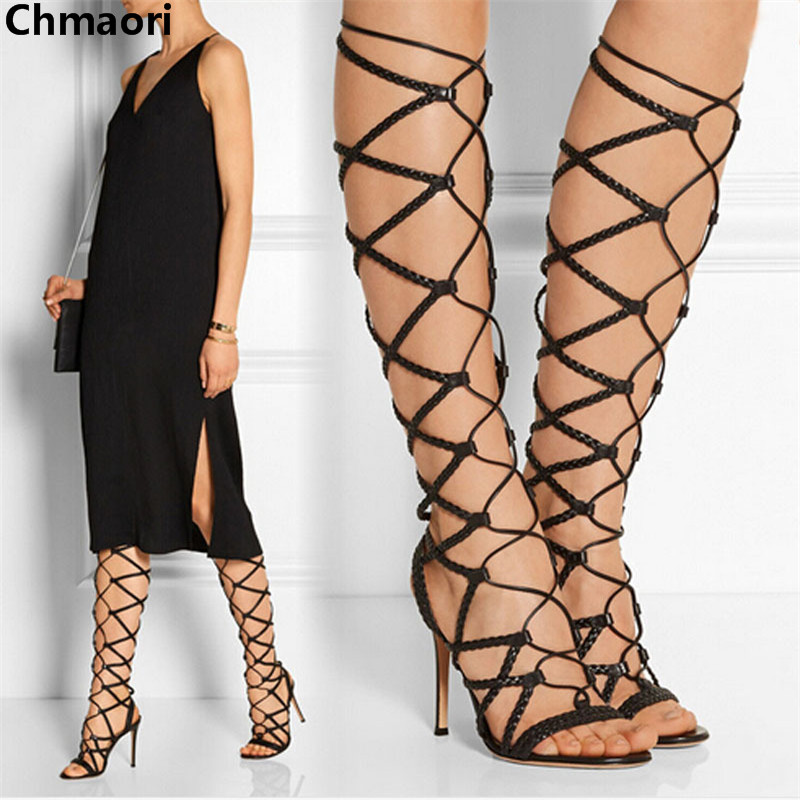 Hot selling sexy lace up high heels summer women sandals open toe cut-outs gladiator sandals boots fashion Knee High boots shoes rousmery 2017 the latest rivets embellished open toe knee high sandals boots sexy cut outs lace up woman flat gladiator sandals