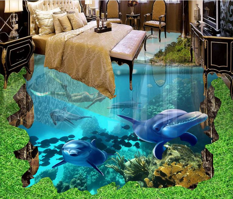 ФОТО custom 3d floor murals for living room bathroom wallpaper Ocean World waterproof floor self adhesive photo wallpaper